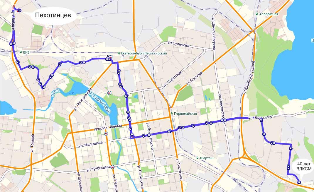 Карта маршрута номер 15