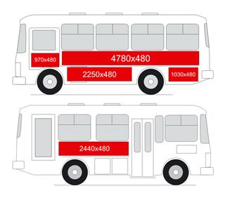 Размеры мест для рекламы на бортах автобуса